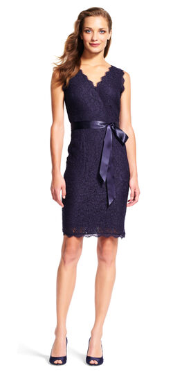 Sleeveless Lace Wrap Dress with Satin Ribbon