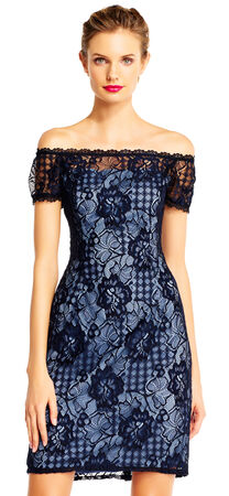 Off the Shoulder Lace Sheath Dress with Sheer Accents