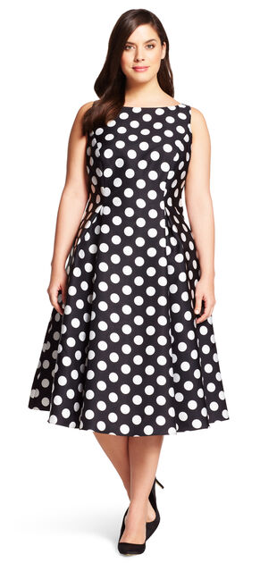 Polka Dot Mikado Midi Dress $189.00 AT vintagedancer.com