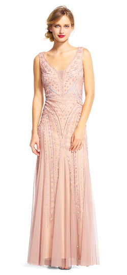 Great Gatsby Dresses for Sale Curve Beaded Mermaid Gown with V-Neckline $209.40 AT vintagedancer.com