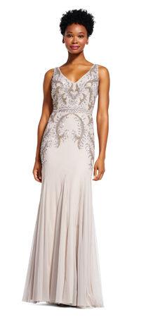 Floral Beaded Godet Dress with V-Back