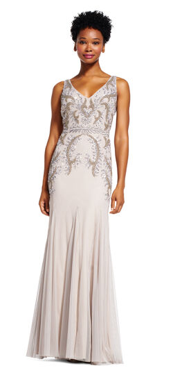 10 Downton Abbey Style Dresses Floral Beaded Godet Dress with V-Back $149.40 AT vintagedancer.com