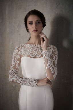 Simple Long Sleeve Trumpet Wedding Dress with Lace Illusion Neckline - 31030