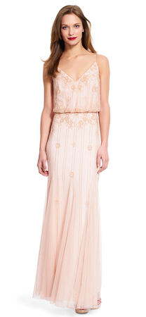 Blouson V-neck beaded Gown