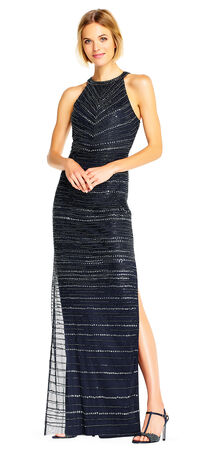 Sequin Beaded Halter Dress with Slit Skirt