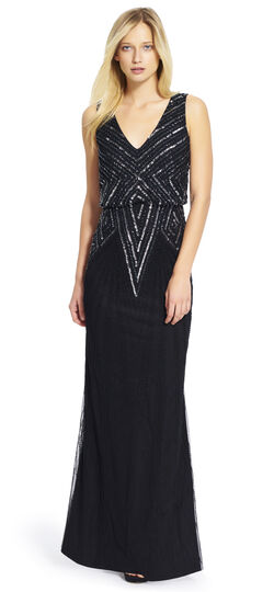 V-Neck Beaded Blouson Gown $279.00 AT vintagedancer.com