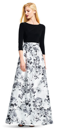 Three Quarter Sleeve Dress with Floral Print Ball Skirt