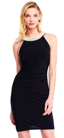 Halter Sheath Dress with Pearl Beaded Neckline