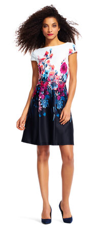 Short Sleeve Colorblock Floral Print Dress with V-Back