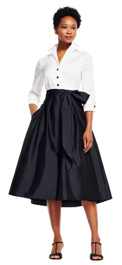 Taffeta Midi Dress with Blouse Design