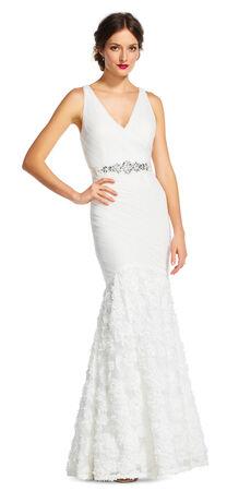 Petal Chiffon Mermaid Dress with Jeweled Waist