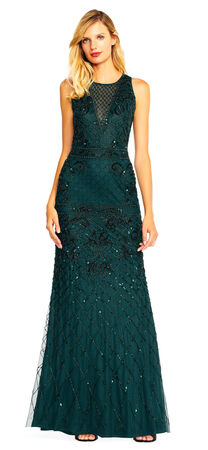 Filigree Beaded Halter Gown with Illusion V-Neckline