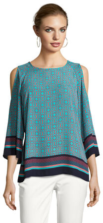 Boho Printed Top with Cold Shoulder Three Quarter Sleeves