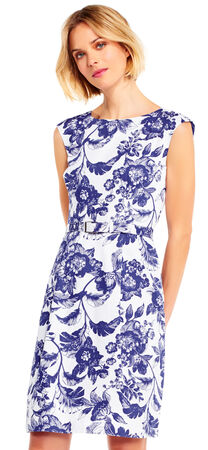 Floral Faille Fit and Flare Dress with Belted Waist