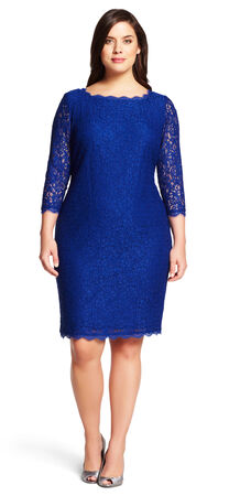 Lace cocktail sheath dress with Sheer Three-Quarter Sleeves