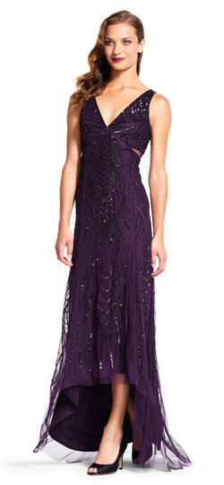 Vine Beaded High Low Gown with Sheer Insets