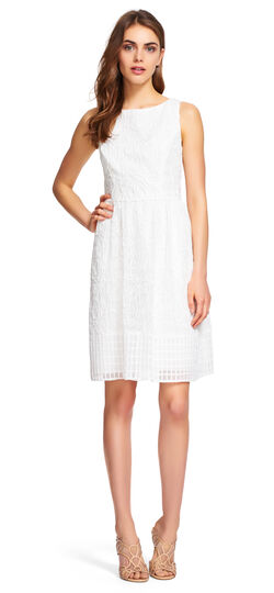 Embroidered Fit and Flare Dress with Grid Hem