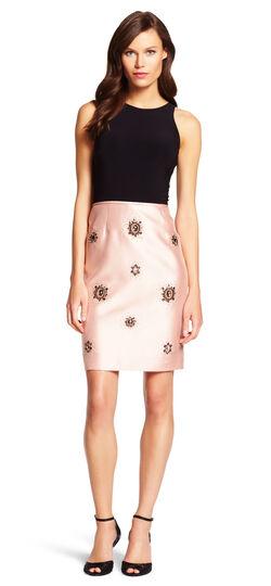 Mixed Media Embellished Sheath Dress
