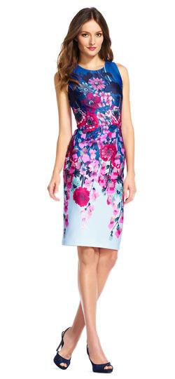 Floral Bouquet Print Sheath Dress