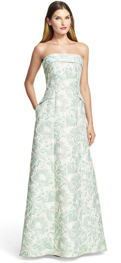Strapless Floral Metallic Jacquard Ball Gown