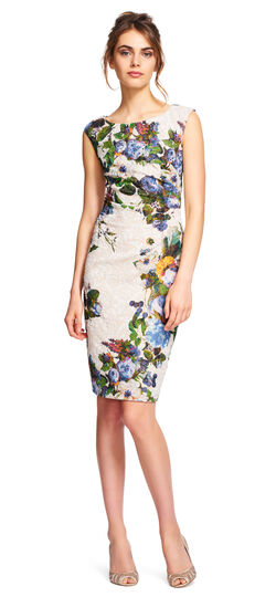 Metallic Floral Sheath Dress with Side Pleating