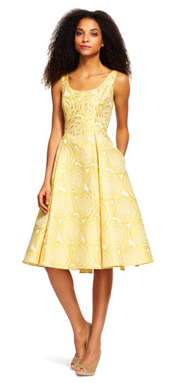 Sleeveless Floral Embroidered Party Dress with Beading