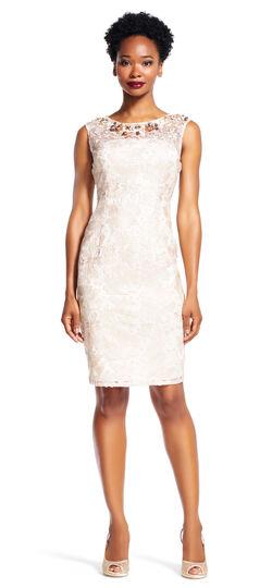 Lace Sheath Dress with Jeweled Illusion Neckline