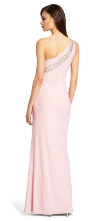 One Shoulder Sequin Jersey Gown