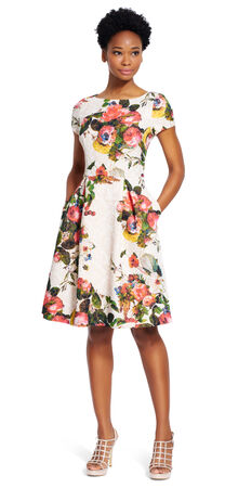 Floral Matelasse Fit and Flare Dress