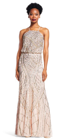Beaded Blouson Halter Gown