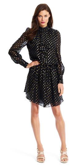 Gold Dotted Chiffon Dress