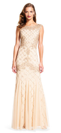 Fully Beaded Sleeveless Godet Gown