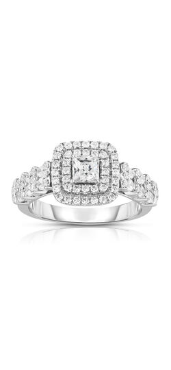 Princess-Cut Diamond Double Frame Engagement Ring in 14K Two-Tone Gold