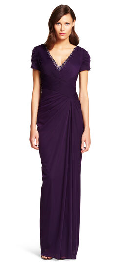 Cap Sleeve Stretch Tulle Gown