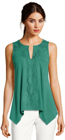 Sleeveless Embroidered Asymmetrical Top with Split Neckline