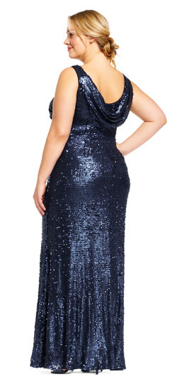 Plus Size Retro Dresses Sequin Halter Dress with Cowl Back $249.00 AT vintagedancer.com