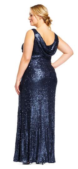 1930s Plus Size Dresses Sequin Halter Dress with Cowl Back $249.00 AT vintagedancer.com