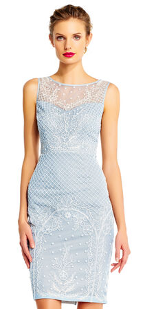 Sleeveless Pearl Beaded Sheath Dress with Illusion Neckline