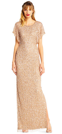 Sequin Beaded Gown with Flutter Sleeves