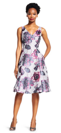 Floral Jacquard Fit and Flare Dress with Bead Accents
