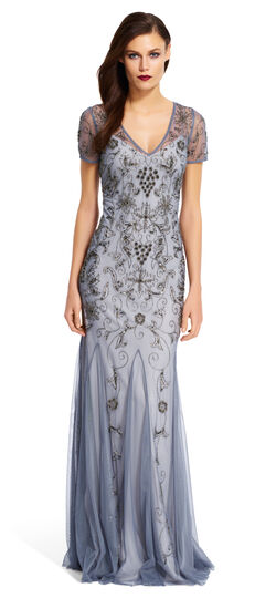 Short Sleeve Beaded Gown $166.05 AT vintagedancer.com