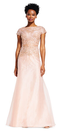 Short Sleeve Dress with Beaded Bodice