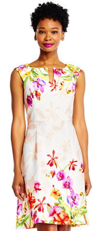 Orchid Print Scuba A-Line Dress with V-Neckline