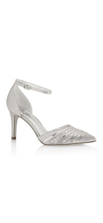 Helma Satin Embellished Pointy Toe Pump