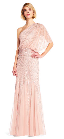 One Shoulder Beaded Blouson Gown with Godet Skirt
