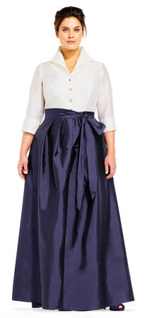 Taffeta Blouse Ball Gown with Tie Waist