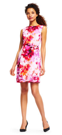 Garden Floral Print Dress with Belted Waist