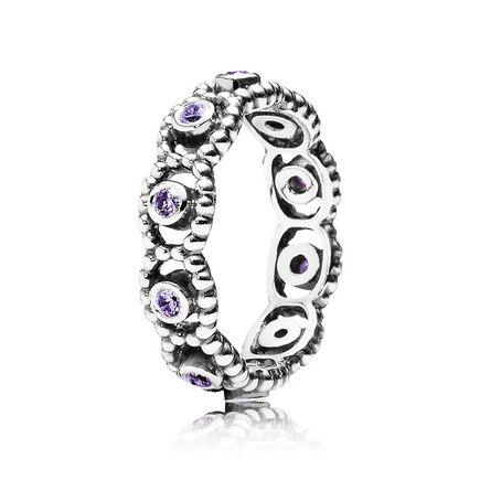 Her Majesty Stackable Ring, Purple CZ