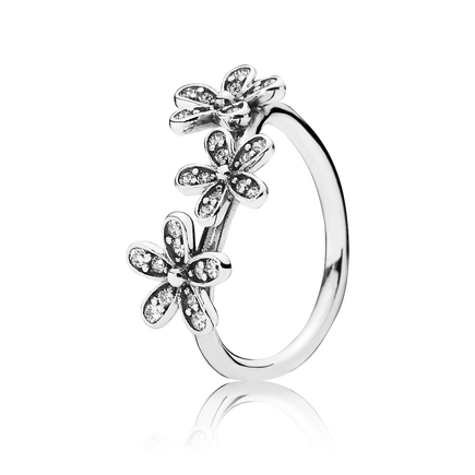 Dazzling Daisies Stackable Ring, Clear CZ