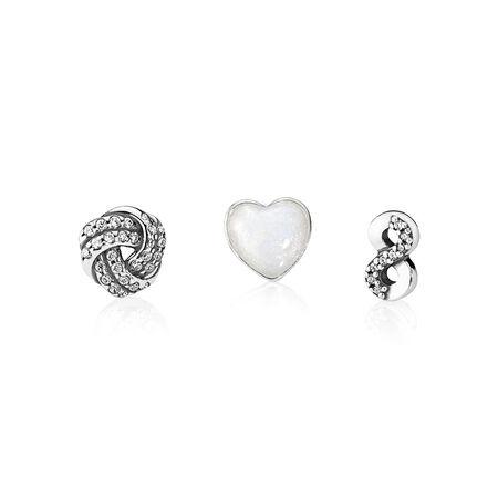 Infinite Love Petites, Silver Enamel & Clear CZ